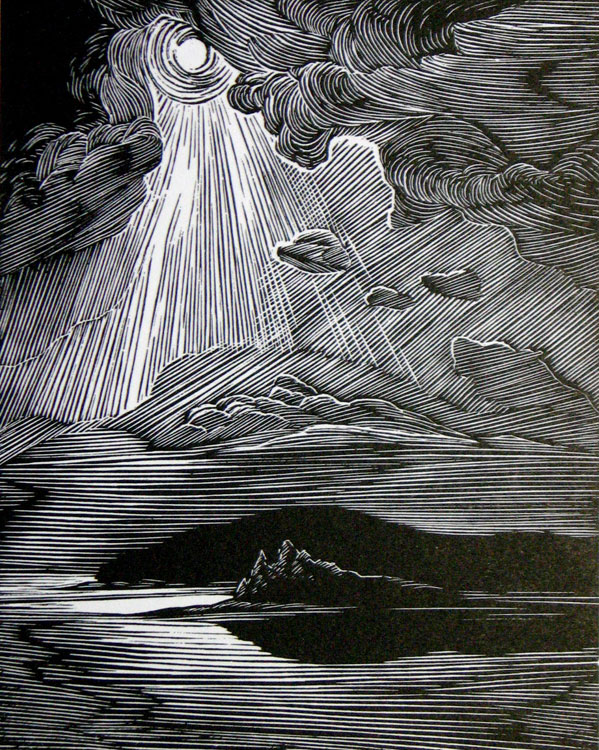 SIRI BECKMAN Moonlit Islands, wood engraving, 4.25 x 3.25 inches