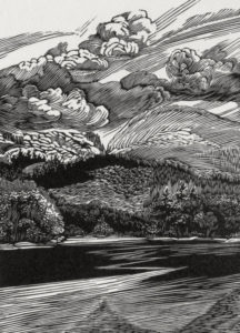 SIRI BECKMAN Otter Cove wood engraving, edition of 100, 6 x 4.75 inches $500 framed