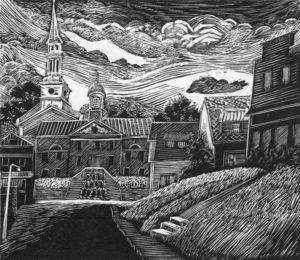 SIRI BECKMAN Our Town framed wood engraving, edition of 100, 3 x 3.5 inches $375