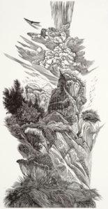 SIRI BECKMAN Pinnacle wood engraving, 10 x 5 inches $500