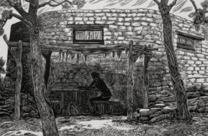SIRI BECKMAN Quiet Day wood engraving, edition of 100, 4 x 6 inches $500 framed