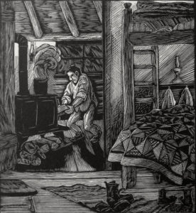 SIRI BECKMAN Stoking wood engraving, edition of 100, 4.5 x 4 inches $275