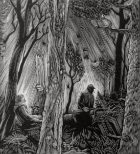 SIRI BECKMAN Stopping in the Woods wood engraving, 4.5 x 4 inches