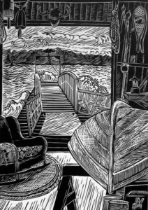 SIRI BECKMAN The Boathouse wood engraving, edition of 100, 10 x 7.25 inches $600 framed