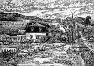 SIRI BECKMAN The Carter Farm wood engraving, edition of 100, 5 x 7 inches $375