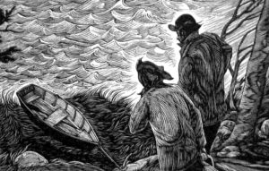 SIRI BECKMAN The Crossing wood engraving, 4.5 x 10 inches