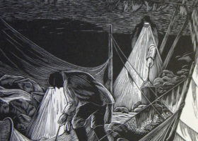 SIRI BECKMAN The Elvers, wood engraving, 6 x 4.75 inches