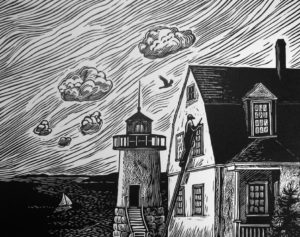 SIRI BECKMAN The Keeper's House wood engraving, edition of 100, 9.5 x 11 $600 framed