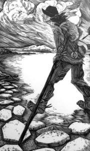 SIRI BECKMAN Tinker on Stilts wood engraving, edition of 100, 12 x 15.5 $500