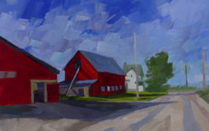 PHILIP FREY Crimson Barns oil on canvas, 12 x 19 inches $1700