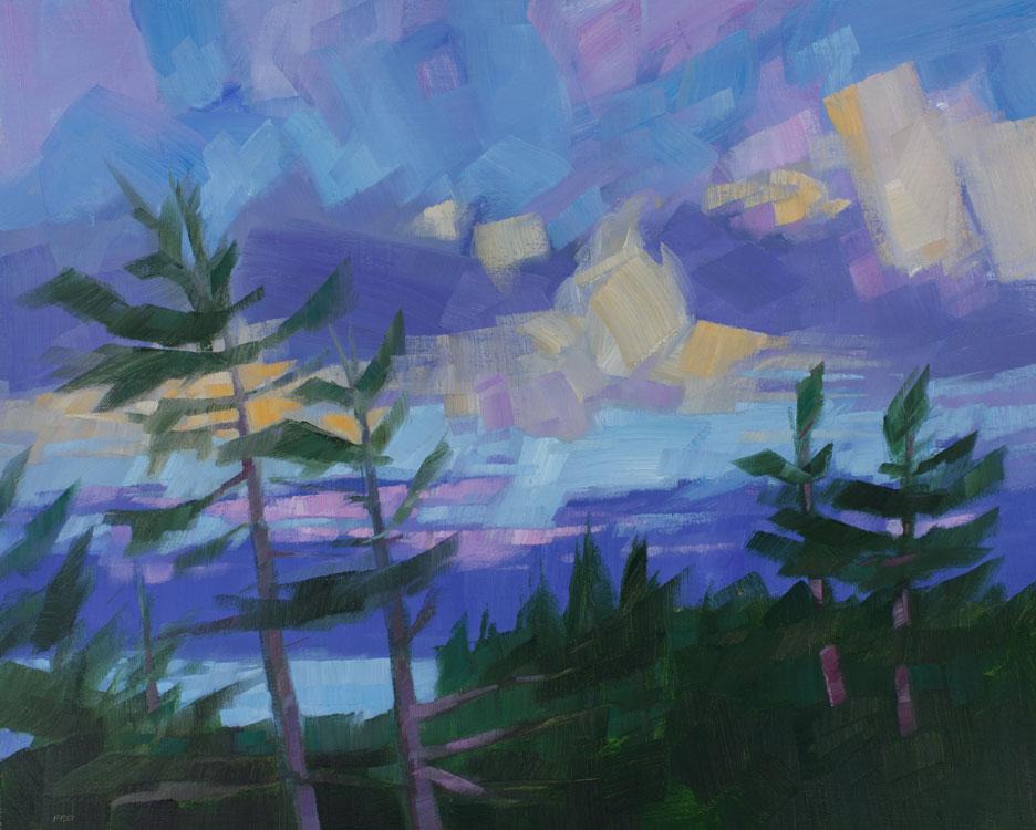 PHILIP FREY Tree Top Twilight, oil on linen, 24 x 30 inches