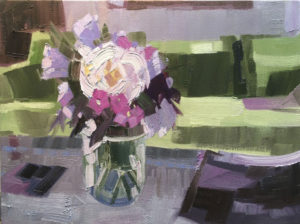 PHILIP FREY White, Green and Violet oil on panel, 12 x 16 inches $1600