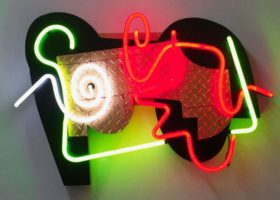 CHARLIE HEWITT LA Roll, mixed media neon, 26 x 36 x 5 inches