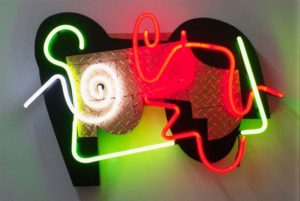 CHARLIE HEWITT LA Roll mixed media neon, 26 x 36 x 5 inches