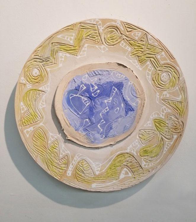 CHARLIE HEWITT Platter II, ceramic, 20 x 20 inches