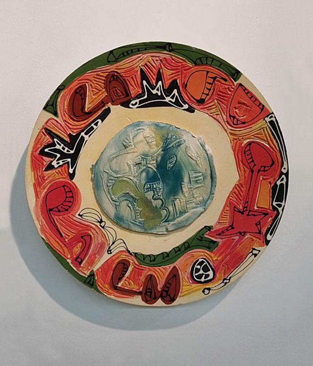 CHARLIE HEWITT Platter III, ceramic, 20 x 20 inches