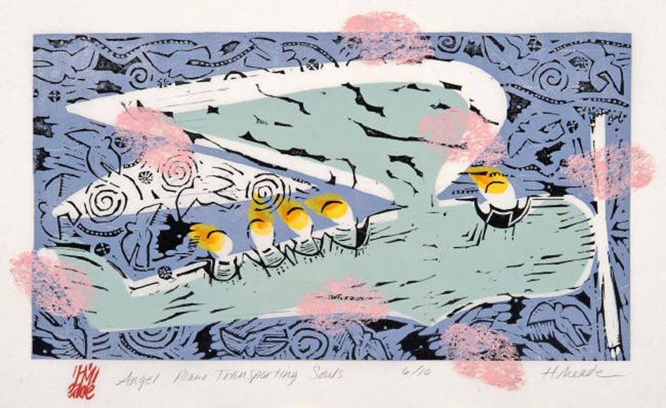HOLLY MEADE Angel Plane Transporting Souls, 2/10, woodblock print, 9 x 17 inches