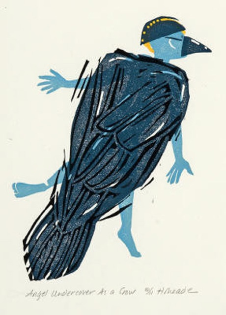 HOLLY MEADE Angel Undercover as a Crow, 11/11, woodblock print, 8 x 6 inches