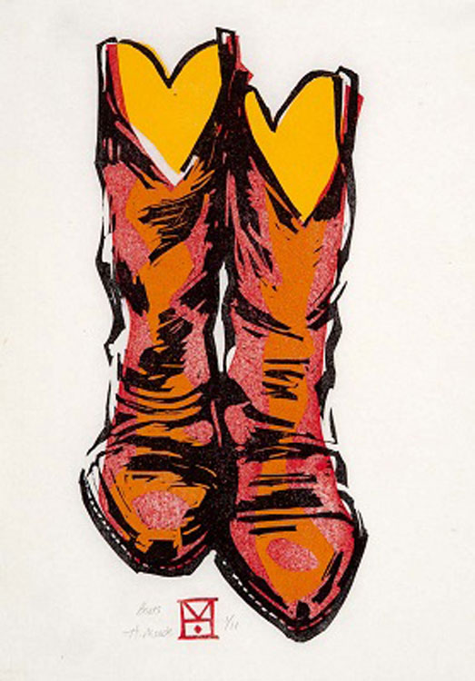 HOLLY MEADE Boots, woodblock print, 16 x 10 inches