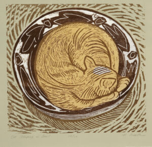 HOLLY MEADE Cat Sleeping in a Bowl woodblock print, 16 x 16 edition of 13 $1200