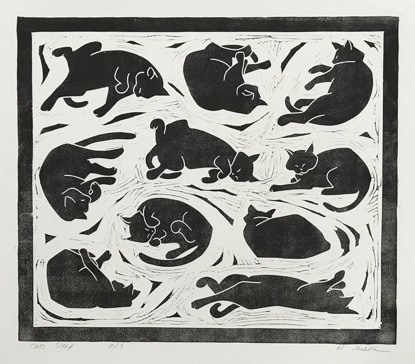 HOLLY MEADE Cats Sleep, 8/9, woodblock print, 17 x 20 inches