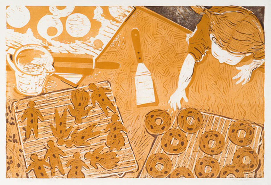 HOLLY MEADE Cookies, 4/8, woodblock print, 20 x 30 inches