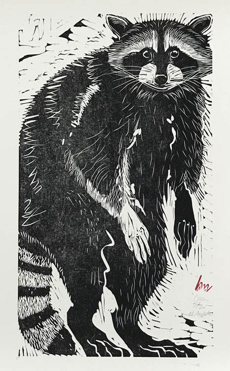 HOLLY MEADE Coon, 5/20, woodblock print, 22 x 12 inches