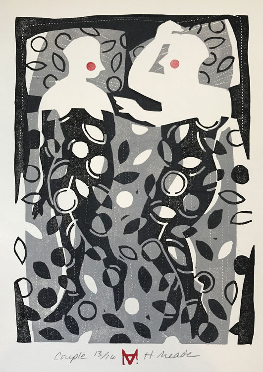 HOLLY MEADE Couple, 13/16, woodblock print, 10 x 7 inches