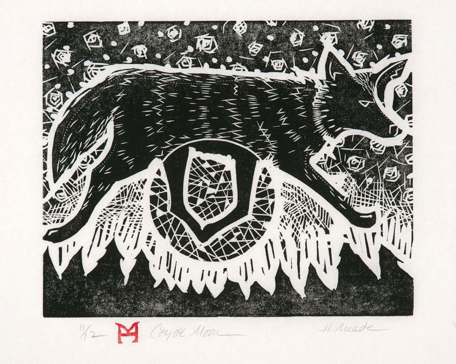 HOLLY MEADE Coyote Moon, unnumbered edition of 10, woodblock print, 9 x 10 inches