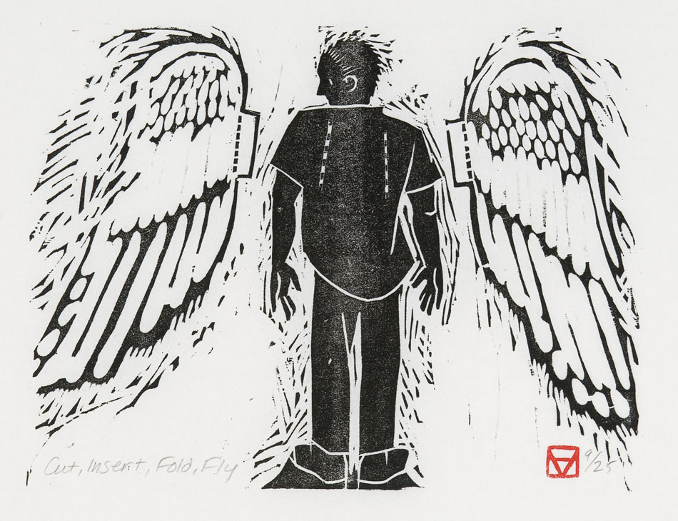 HOLLY MEADE Cut, Insert, Fold, Fly, 13/25, woodblock print, 6 x 8 inches