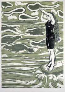 HOLLY MEADE Dive woodblock print, 32 x 24 inches edition of 7 $1800