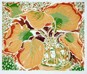HOLLY MEADE Dry Leaves woodblock print, 24 x 20 inches $800