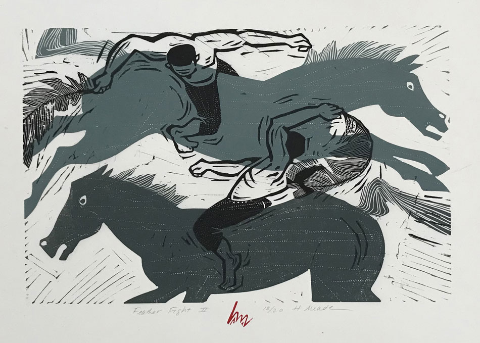 HOLLY MEADE Feather Fight II, 18/20, woodblock print, 12 x 18 inches