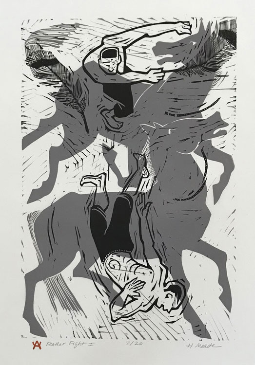HOLLY MEADE Feather Fight I, 7/20, woodblock print, 18 x 12 inches