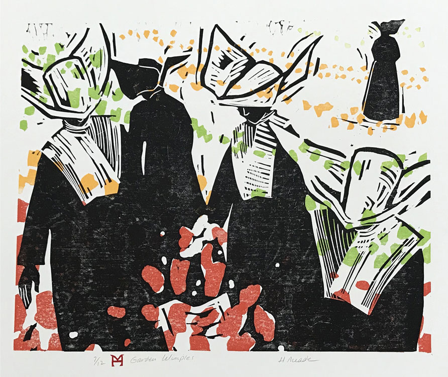HOLLY MEADE Garden Wimples, 7/12, woodblock print, 16 x 20 inches