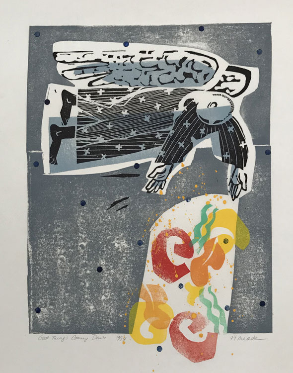 HOLLY MEADE Good Things Coming Down, 10/14, woodblock print, 16 x 12 inches