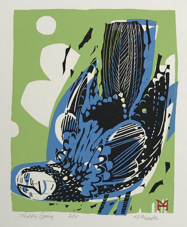 HOLLY MEADE Happy Spring, 2/15, woodblock print, 11 x 9 inches