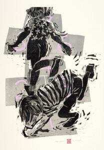 HOLLY MEADE Hopscotchers woodblock print, 32 x 24 inches edition of 11 $1200