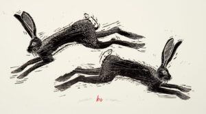HOLLY MEADE Jackrabbits woodblock print, 17 x 36 last in unnumbered edition $1800