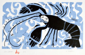 HOLLY MEADE Blue Lobster, woodblock print, 11 x 20 inches edition of 14 $1300