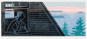 HOLLY MEADE Looking Out woodblock print, 10 x 24 inches last in edition of 12 $1800