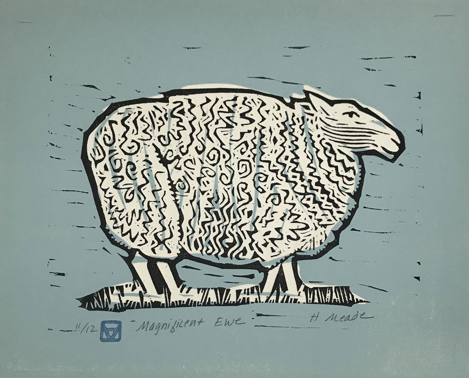 HOLLY MEADE Magnificent Ewe, 11/12, woodblock print, 7 x 8 inches