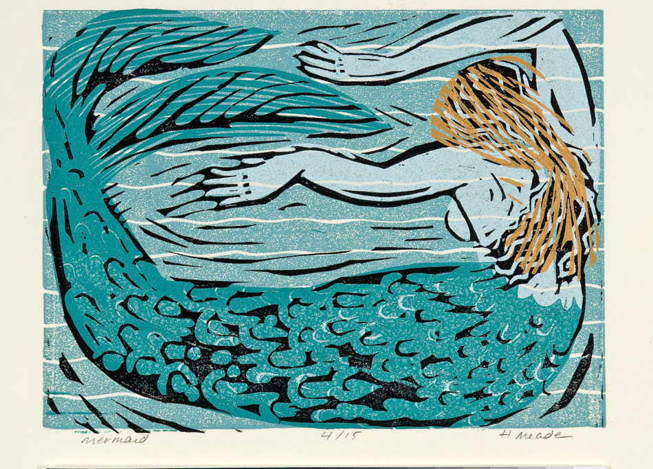 HOLLY MEADE Mermaid, 6/15, woodblock print, 6 x 8 inches