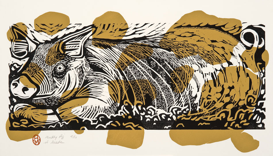 HOLLY MEADE Muddy Pig, 14/24, woodblock print, 14 x 24 inches