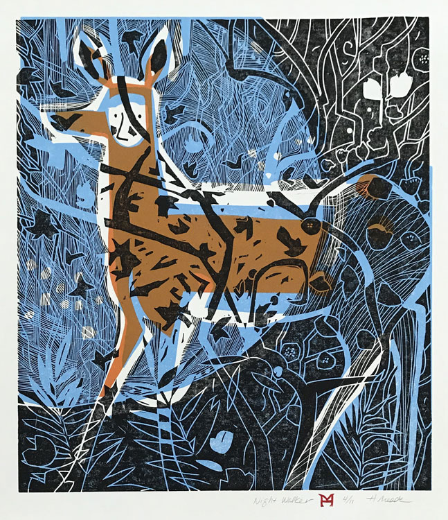 HOLLY MEADE Nightwalker, 4/12, woodblock print, 21 x 18 inches