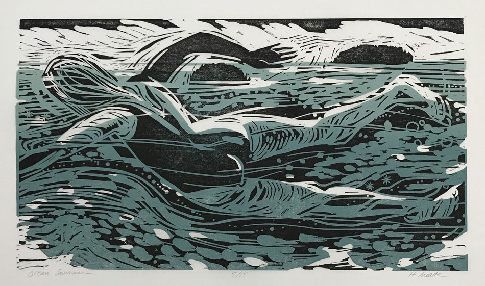 HOLLY MEADE Ocean Swimmer, 5/15, woodblock print, 11 x 20 inches
