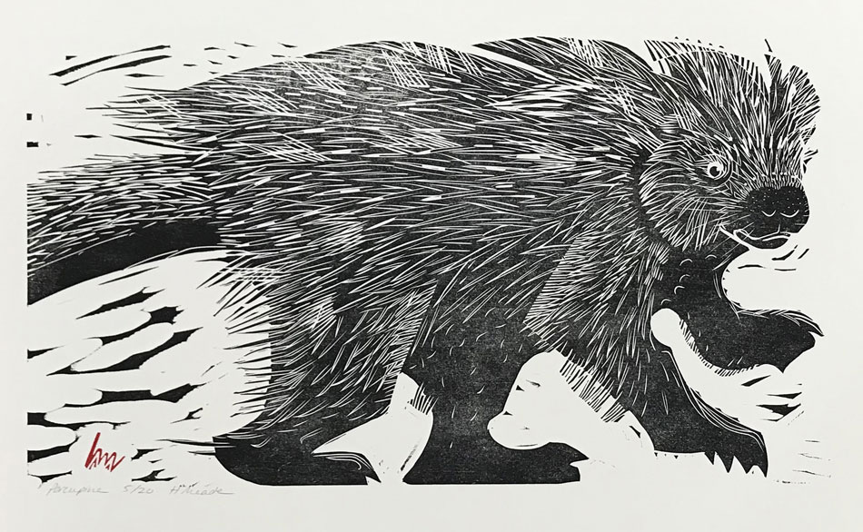 HOLLY MEADE Porcupine, 5/20, woodblock print, 12 x 22 inches