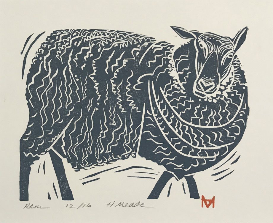 HOLLY MEADE Ram, woodblock print, 6 x 8 inches