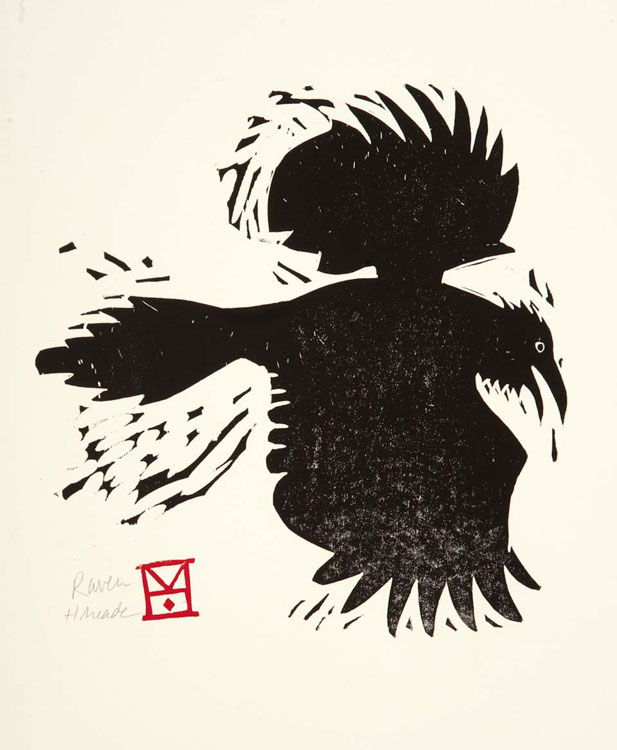 HOLLY MEADE Raven, uneditioned, woodblock print, 11 x 10 inches