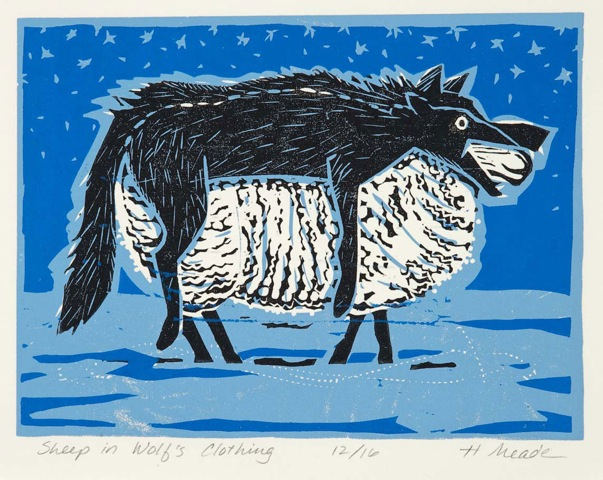 HOLLY MEADE Sheep in Wolf's Clothing, 5/17, woodblock print, 7 x 9 inches